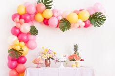 Tropical Summer Balloon Garland Kit - Pink Coral Yellow - Custom Size Balloon Arch DIY from Pink Martini Events Balloon Arch Diy, Balloon Backdrop, Balloon Columns, Balloon Garland, Yellow Balloons, Gold Balloons, Latex Balloons, Pool Party Decorations, Bachelorette Party Decorations