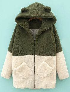 Green Hooded Contrast White Pockets Loose Coat EUR€33.40