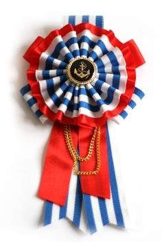 Nautical madness - badges for champion house! Nautical Stripes, Nautical Theme, Ribbon Art, Ribbon Bows, Fourth Of July, 4th Of July Wreath, Passementerie, Old Glory, Tag Art