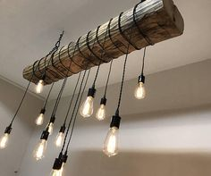"Farmhouse Chandelier 48"" Reclaimed Barn Sleeper Beam Wood Light Fixture with LED Edison bulbs Rustic"