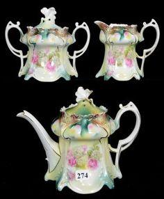 THREE PIECE RSP POINT & CLOVER MOLD TEA SET