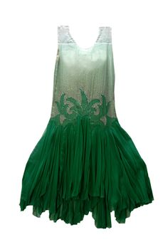 "Green organza dress, late 1920s. Green Organza, late 1920s. ""This was the most expensive dress Dorothy Fuller ever purchased. She bought it in Baltimore in 1927 or 1928 for a reception hosted by her brother for Dorothy and their sister."