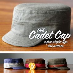 cadet cap - a free hat sewing pattern for little boys - would be perfect for making civil war style caps for imaginative play