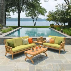 Entertain and inspire with Fiori® teak loveseats. Unique double half-moon shapes and flared legs support a reliable teak loveseat for outdoor living rooms. Outdoor Loveseat, Outdoor Lounge, Outdoor Decor, Teak Outdoor Furniture, Furniture Ideas, Outdoor Living Rooms, Backyard, Patio, Garden Inspiration