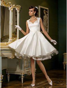 Wedding Dress A Line Knee Length Tulle Satin Queen Anne Neckline Little White Dress – USD $ 89.99