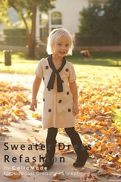 Make a girl's sweater dress from a woman's cardigan #sewing