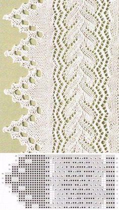 Такой каймой можно украсить край шали или палантина. А можно связать длинную ажурную юбку и украсить ее каймой по низу | Вязание спицами. Узоры | Постила