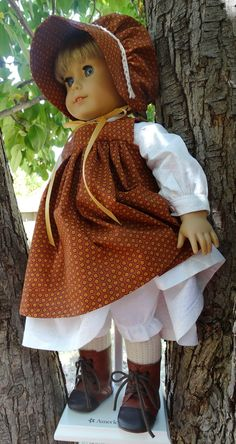 Prairie Style Outfit With Pinafore and Bonnet for AG Kirsten by Designed4Dolls on Etsy $26.95