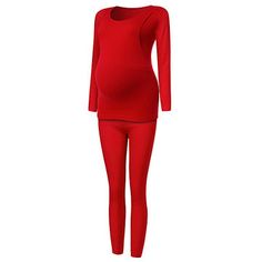 Pregnant Women Comfy Soft Maternity Thermal Underwear Side Open Nursing Seamless Sleepwear Sets at Banggood