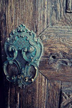 Turquoise doorknob