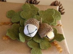 Acorn bells gift topper idea.