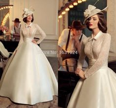 Retro 2016 Wedding Dresses with collar buttons ball gown lace long sleeves…