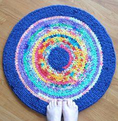Crochet Rug Tie Dye Jumble SALE by ekra on Etsy, $32.00