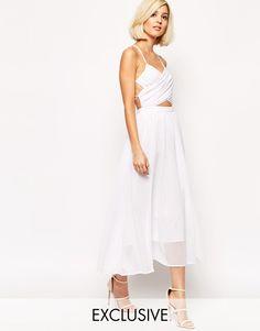 Image 1 ofLavish Alice Floaty Midi Dress with Wrap Lace Up  ASOS - $105