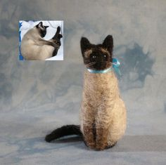 DEPOSIT for one CUSTOM Needle-Felted Sitting Cat Sculpture (2813). $17.00, via Etsy.