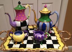 CUSTOM Silver tea set custom painted Color por paintingbymichele