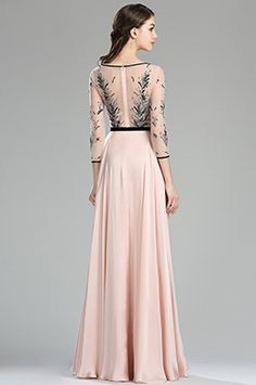 eDressit Pink & Black Embroidery Long Dress with Sleeves (02180201)