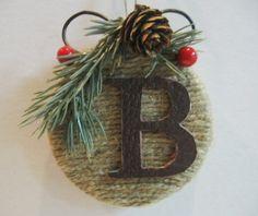 Monogram Initial Ornament Custom Rustic Traditional Christmas Holiday ...