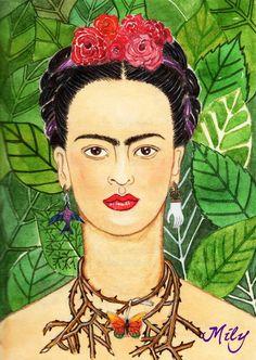 """"""" Viva la Vida , Viva la Frida !!! """", watercolours and tempera."""