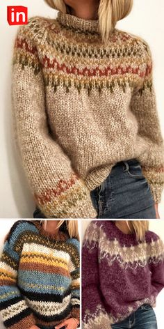 Knitting Designs, Knitting Patterns, Crochet Patterns, Look Fashion, Fashion Outfits, Wooly Jumper, Look Boho, Pulls, Free Knitting