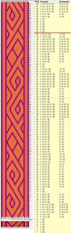 20 tarjetas, 3 colores, repite cada 80 movimientos // sed_1023 diseñado en GTT༺❁