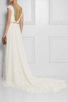 Marchesa Embellished silk-chiffon gown Back view