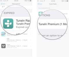 Tap a subscription, then tap a renewal option