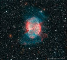 Known by the popular name of the Dumbbell Nebula, the beautifully symmetric interstellar gas cloud is over 2.5 light-years across and about 1,200 light-years away in the constellation Vulpecula. This impressive color composite highlights details within the well-studied central region and fainter, seldom imaged features in the nebula's outer halo. It incorporates broad and narrowband images recorded using filters sensitive to emission from sulfur, hydrogen and oxygen atoms.