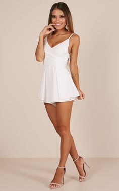 Wish You Would Playsuit In White Hot Summer Outfits, Sexy Outfits, Cute Outfits, Summer Dresses, Summer Clothes, Casual Outfits, Tight Dresses, Sexy Dresses, Mini Dresses