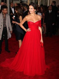 Camilla Belle in a beautiful off the shoulder dress. Red!