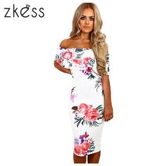 91d78993f5c Zkess Elegant Floral Print Midi Dress Women off shoulder Bodycon Dress  Vestidos Summer Knee Length Sexy Party Dresses LC61536