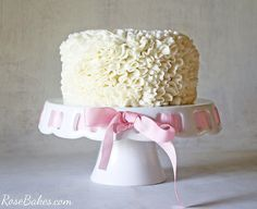Messy Ruffles Cake Decorating Video Tutorial - click over to Rose Bakes to see the video for how to make this really easy Messy Ruffles Buttercream Cake
