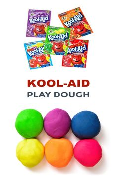 Kool-aid Play Dough This play dough recipe requires no cooking and is made using Kool-aid! The play dough is easy to make, taste-safe, and you do not need cream of tartar! Koolaid Playdough, Easy Playdough Recipe, Cooked Playdough, Homemade Playdough, Slime, Play Doh, Kool Aid Play Dough Recipe, Edible Play Dough, Activities For Kids