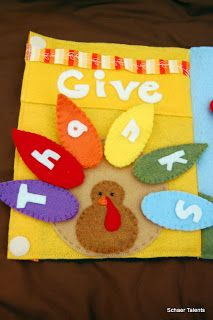 {Schaer Talents: Give Thanks Quiet Book} Great idea for the November page in the month-themed book!