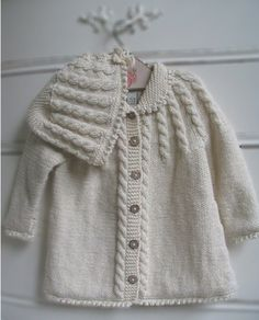 Organic Hand Knit Matinee Coat & Hat by Zia & Tia Knitting For Kids, Baby Knitting Patterns, Hand Knitting, Baby Patterns, Baby Cardigan, Baby Girl Jackets, Baby Coat, Hand Knitted Sweaters, Knitting Sweaters
