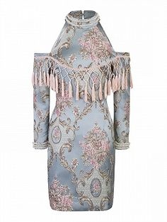 Shop Green Cold Shoulder Jeweled Tassel Detail Floral Jacquard Dress from choies.com .Free shipping Worldwide.$46.9