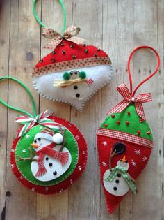 Christmas Ornaments Snowman felt ornaments by CraftsbyBeba