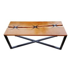 """Handcrafted and designed by seller. Live edge cherry table with inlaid with ebonzied walnut """"x""""'s with a lightning bolt design. Very sharp. Cherry Coffee Table, Walnut Coffee Table, Walnut Table, Diy Welding, Welding Table, Metal Welding, Welding Ideas, Welding Projects, Wood And Metal Table"""