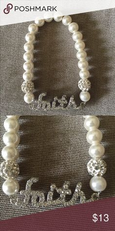 """FAITH"" Beaded Bracelet Stretch bracelet with pearl beads and cystal accents Jewelry Bracelets"