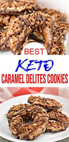 Keto Cookies – BEST Low Carb Keto Caramel Delites Cookies Recipe Copycat Girl Scout Cookies – Easy – Desserts – Snacks – Sweets – Keto Friendly & Beginner - Keto Recipes and Ideas - Low Carb Recipes Keto Cookies, Yummy Cookies, Cookies Et Biscuits, Healthy Cookies, Keto Desserts, Keto Snacks, Easy Desserts, Health Desserts, Girl Scout Cookies Recipes