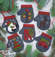 Fat Quarters Quilt Shop For all your quilting & fabric needs : Rachel's of Greenfield Kit - Charcoal Mittens Kit -