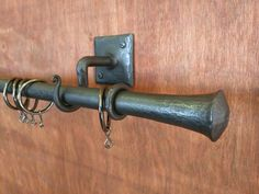 Upset Finial Curtain Pole, with fixing hooks, tie backs and curtain rings, handmade by Tom Fell - Blacksmith by TomFellBlacksmith on Etsy
