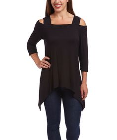 Love this Casa Lee Black Cutout Sidetail Top by Casa Lee on #zulily! #zulilyfinds