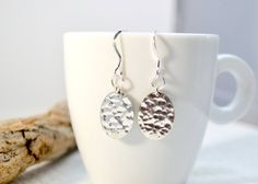 Sterling Silver Oval Disc Earrings Textured Silver by ESBeadworks