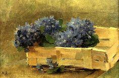 The Athenaeum - Blue Anemones in a Chip Basket (Helene Schjerfbeck - ) Helene Schjerfbeck, Helsinki, A4 Poster, Poster Prints, Japanese Vase, Lily Pond, Z Arts, Vintage Artwork, Still Life