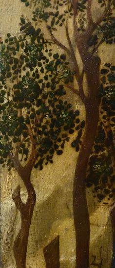 """GIOVANNI FRANCESCO DA RIMINI (Attribué),1440-50 - Vie de la Vierge, La Fuite en Egypte (Louvre) - Detail 36  -  TAGS / details détail détails painting paintings peintures """"peinture 15e"""" """"15th-century paintings"""" """"Moyen Âge"""" """"Middle age"""" Museum Paris France Italie Italy Italia Bible prière prayer Bless sacred holy blessed Virgin Jésus Jesus Enfant Child kid family famille """"St Joseph"""" """"da Rimini"""" trône throne âne donkey animal animals animaux basket panier voyage trip foliage feuillage nature"""