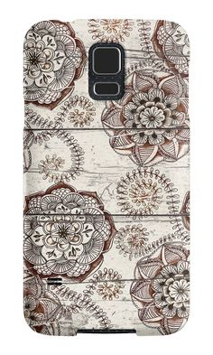 """Coffee & Cocoa - brown & cream floral doodles on wood"" Samsung Galaxy Cases & Skins by micklyn 