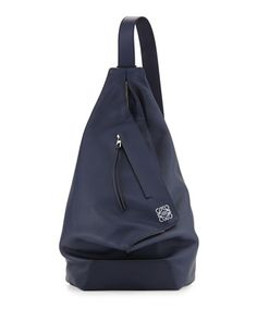 One Shoulder Leather Backpack, Blue by Loewe at Bergdorf Goodman.