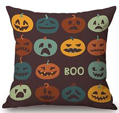 Happy Halloween ghost Pumpkin head Bats owl cat Skeleton Cotton Linen Throw Pillow covers Case Cushion Cover Sofa Decorative Square 18inch 5 *** See this great product.  This link participates in Amazon Service LLC Associates Program, a program designed to let participant earn advertising fees by advertising and linking to Amazon.com.