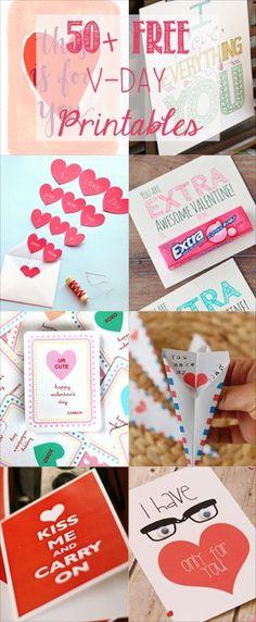 50+ Free Valentine's Printable Cards That Aren't Corny